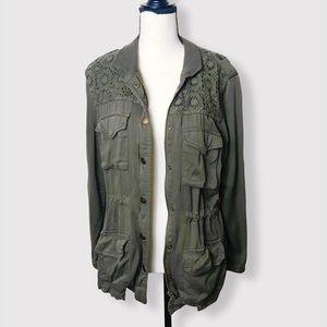 HINGE Green Lace Shoulder Army Jacket Sz S